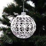 Сувениры и подарки handmade. Livemaster - original item Christmas ball, crocheted hollow. Handmade.