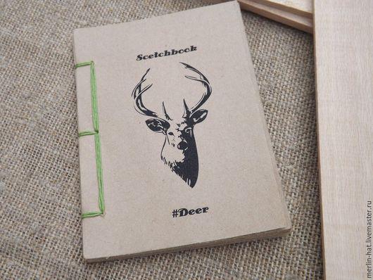 """Другие виды рукоделия ручной работы. Ярмарка Мастеров - ручная работа. Купить Крафт альбом для эскизов """"#Deer"""" A6 45 листов. Handmade."""