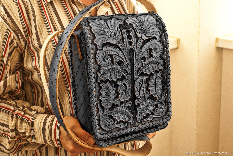 Bag leather 'Vertical big' Black Anthracite, Classic Bag, Krasnodar,  Фото №1