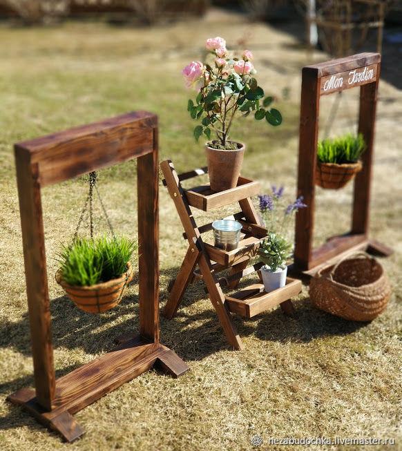 Flower Stands Handmade Frame Stand With Hanging Baskets Nezabudochka
