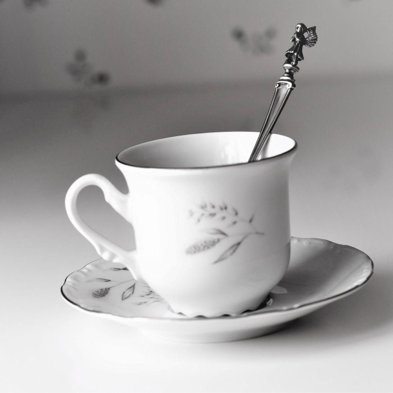 Чайная ложка АНГЕЛОК с чайной парой КОЛОСКИ (чешский фарфор), Подарки для новорожденных, Жуковский,  Фото №1