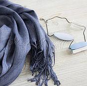 """Аксессуары ручной работы. Ярмарка Мастеров - ручная работа Новозеландский палантин """"Весенняя песня """" джинсовый. Handmade."""