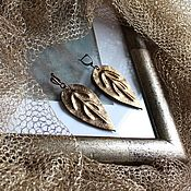 Украшения handmade. Livemaster - original item Leather earrings Bronze leaf. Handmade.