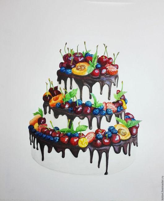 Натюрморт ручной работы. Ярмарка Мастеров - ручная работа. Купить Акварельный торт. Handmade. Акварель, картина в подарок, сладости, шоколадный