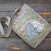 Сумки и аксессуары handmade. Livemaster - original item After the rain.... Hand-painted linen bag.. Handmade.