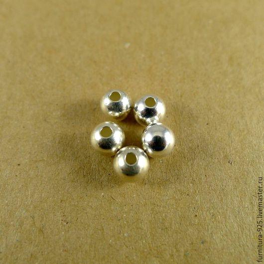 Для украшений ручной работы. Ярмарка Мастеров - ручная работа. Купить Серебряная бусина 6 мм из стерлингового серебра 925 пробы. Handmade.