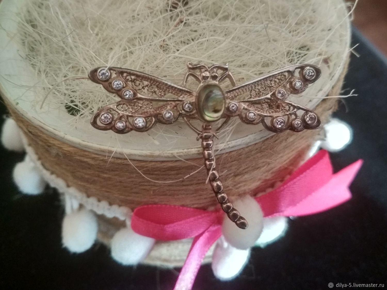 Silver dragonfly brooch, Vintage brooches, Vladimir,  Фото №1
