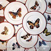 Посуда handmade. Livemaster - original item Painted porcelain plates Butterfly. Handmade.