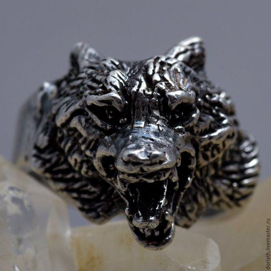 Кольца ручной работы. Ярмарка Мастеров - ручная работа. Купить Серебряное кольцо с оскалившимся волком. Handmade. Серебряный