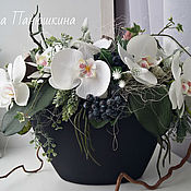Цветы и флористика handmade. Livemaster - original item Bouquet of flowers with an Orchid