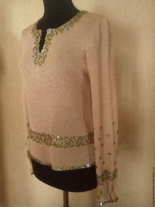 Кофты и свитера ручной работы. Ярмарка Мастеров - ручная работа. Купить Блуза вязанная. Handmade. Бежевый, Кофточка вязаная