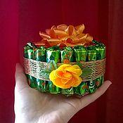 Цветы и флористика ручной работы. Ярмарка Мастеров - ручная работа Торт из конфет 8 марта, букет, презент, подарок учителю, коллегам. Handmade.