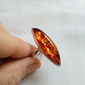 handmade. Livemaster - original item elegant amber ring, silver.. Handmade.