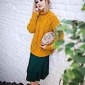 Одежда handmade. Livemaster - original item Jerseys: Women`s knitted sweater spokes in the color mustard oversize. Handmade.