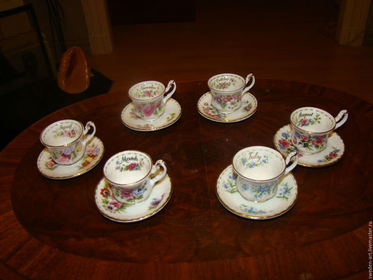 Винтажная посуда. Ярмарка Мастеров - ручная работа. Купить Костяной фарфор Royal Albert-коллекционные миниатюры (6шт )чашки. Handmade.
