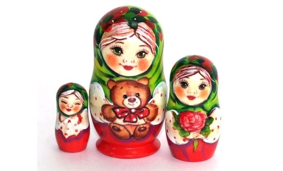 Матрешка Алина с мишкой зелёная 11см 3 м, Народная кукла, Шатура,  Фото №1