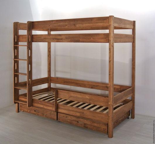 Мебель ручной работы. Ярмарка Мастеров - ручная работа. Купить Кровать двухярусная деревянная с защитным бортиком. Handmade. Детская комната