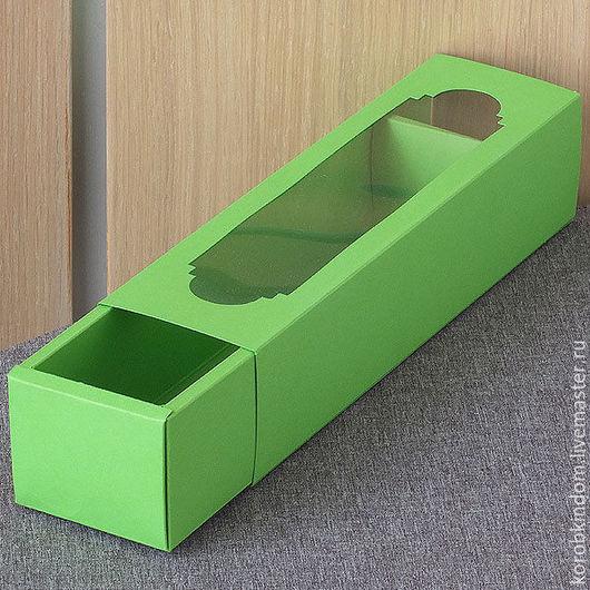 Упаковка ручной работы. Ярмарка Мастеров - ручная работа. Купить Коробка-пенал 22х5х5 с окном зеленая. Handmade. Коробочка