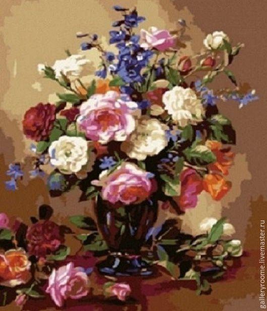 Другие виды рукоделия ручной работы. Ярмарка Мастеров - ручная работа. Купить Картина по номерам Нежность чайных роз. Handmade.