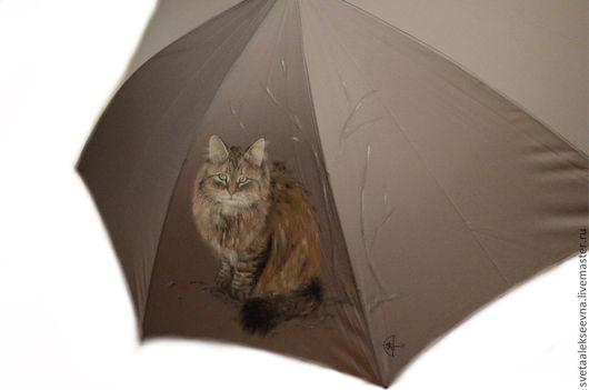 """Зонты ручной работы. Ярмарка Мастеров - ручная работа. Купить Зонт с ручной росписью """"Снежные котики"""". Handmade. Серый, кот"""