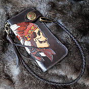 "Wallets handmade. Livemaster - original item Портмоне ""Indian"" Натуральная кожа. Handmade."