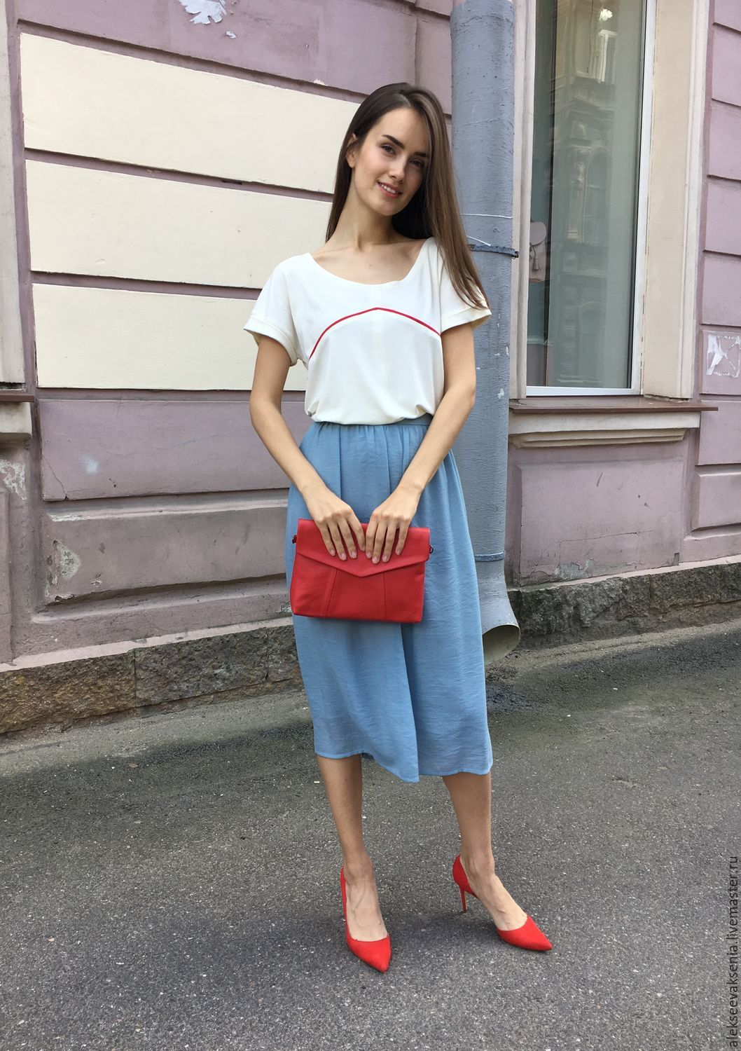 Bag made of genuine leather 'Geometry small' red-2, Classic Bag, St. Petersburg,  Фото №1