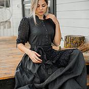 Одежда handmade. Livemaster - original item Dresses: linen long dress with buttons. Handmade.
