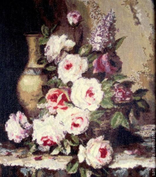 """Натюрморт ручной работы. Ярмарка Мастеров - ручная работа. Купить Картина """"Мраморные розы"""" (ручная вышивка крестом - хлопок). Handmade."""