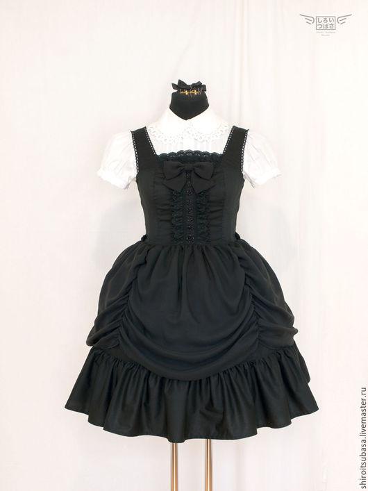 Платья ручной работы. Ярмарка Мастеров - ручная работа. Купить Платье с двойной юбкой (D20). Handmade. Черный, черное платье