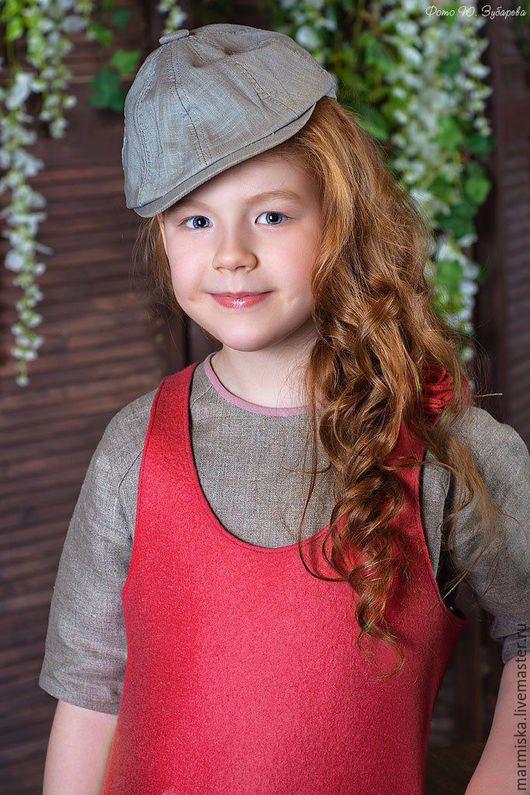 Одежда для девочек, ручной работы. Ярмарка Мастеров - ручная работа. Купить Детское льняное платье и валяный сарафан Яблоневый цвет. Handmade.