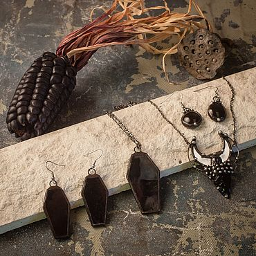 Subcultures handmade. Livemaster - original item Set of Earrings and Pendant Coffin. Handmade.