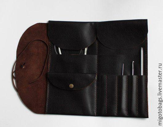 Органайзеры для рукоделия ручной работы. Ярмарка Мастеров - ручная работа. Купить чехол для спиц и крючков. Handmade. Коричневый, подарок