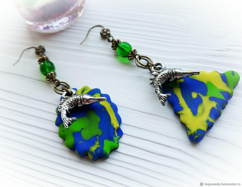 Asymmetric earrings ' Fish in the pond', Earrings, Moscow,  Фото №1