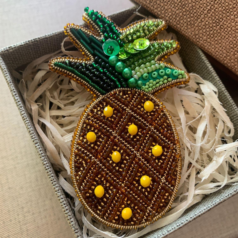 Брошь из бисера ананас, Брошь-булавка, Калининград,  Фото №1