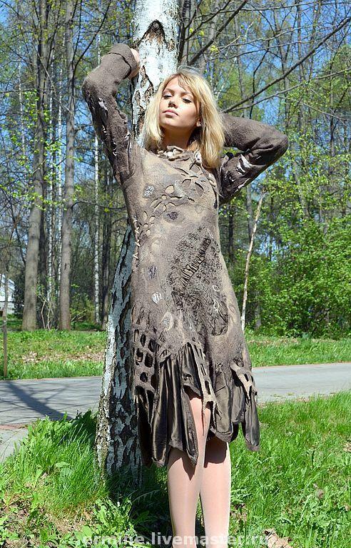"""Платья ручной работы. Ярмарка Мастеров - ручная работа. Купить валяное платье """"Шервудский лес"""". Handmade. Платье, подарок, шерсть"""