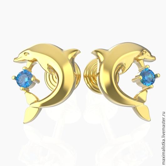 Золотые пуссеты `Дельфины`  с сапфирами