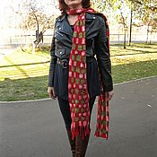 Аксессуары handmade. Livemaster - original item Red Long Felted Scarf Cage Warm Woolen Gift New Year. Handmade.