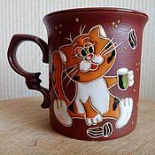 Посуда handmade. Livemaster - original item Ceramic mug handmade: Cat and coffee. Handmade.