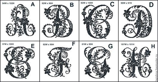 Схема для вышивки крестом `Монограммы ` (A - H)