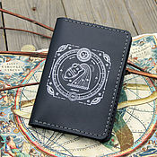 Сумки и аксессуары handmade. Livemaster - original item Leather passport cover with the zodiac Aquarius engraving. Handmade.