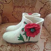 """Обувь ручной работы. Ярмарка Мастеров - ручная работа Тапочки """"Мак"""".. Handmade."""