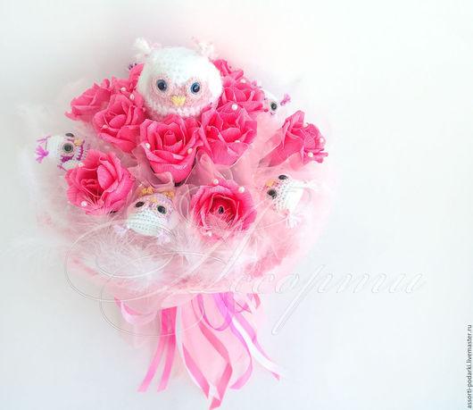 Букеты ручной работы. Ярмарка Мастеров - ручная работа. Купить Букет из конфет и игрушек сов Розовое чудо. Handmade.