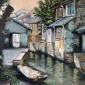 Картины и панно handmade. Livemaster - original item China. China`s Little Venice. Suzhou. architectural landscape. Handmade.