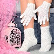 Сувениры и подарки handmade. Livemaster - original item Gifts for February 14:NEW!Openwork down set socks and gloves. Handmade.
