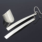 Украшения handmade. Livemaster - original item Minima Series Spear Ring and Earrings in brushed silver. Handmade.