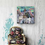 Картины и панно ручной работы. Ярмарка Мастеров - ручная работа картина акрилом Деревушка в стиле бохо (мятный, серый). Handmade.