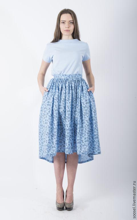 """Юбки ручной работы. Ярмарка Мастеров - ручная работа. Купить Юбка """"Голубые Гавайи"""". Handmade. Голубой, хлопковая юбка, мода"""