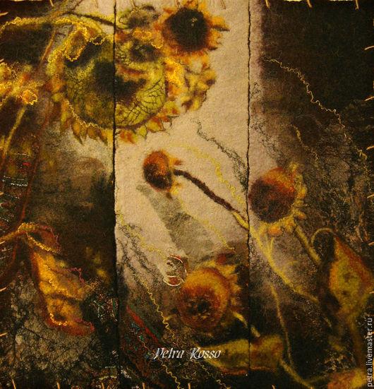 """Картины цветов ручной работы. Ярмарка Мастеров - ручная работа. Купить Гелиос"""". Handmade. Черный, ручная работа, войлочная картина"""