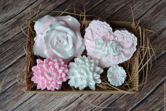 Мыло ручной работы. Ярмарка Мастеров - ручная работа. Купить Набор мыла цветочный. Handmade. Розовый, мыло, необычный подарок