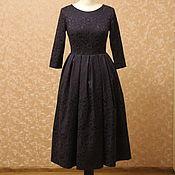 Одежда ручной работы. Ярмарка Мастеров - ручная работа Синее платье из жаккарда. Handmade.